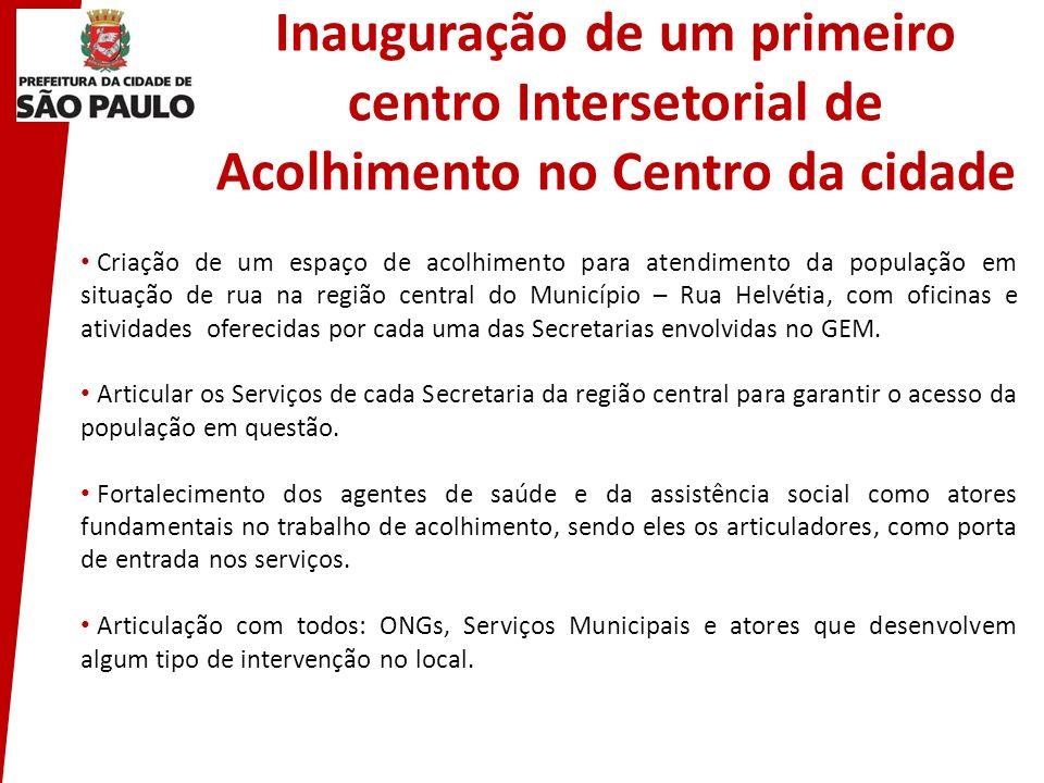 Inauguração de um primeiro centro Intersetorial de Acolhimento no Centro da cidade