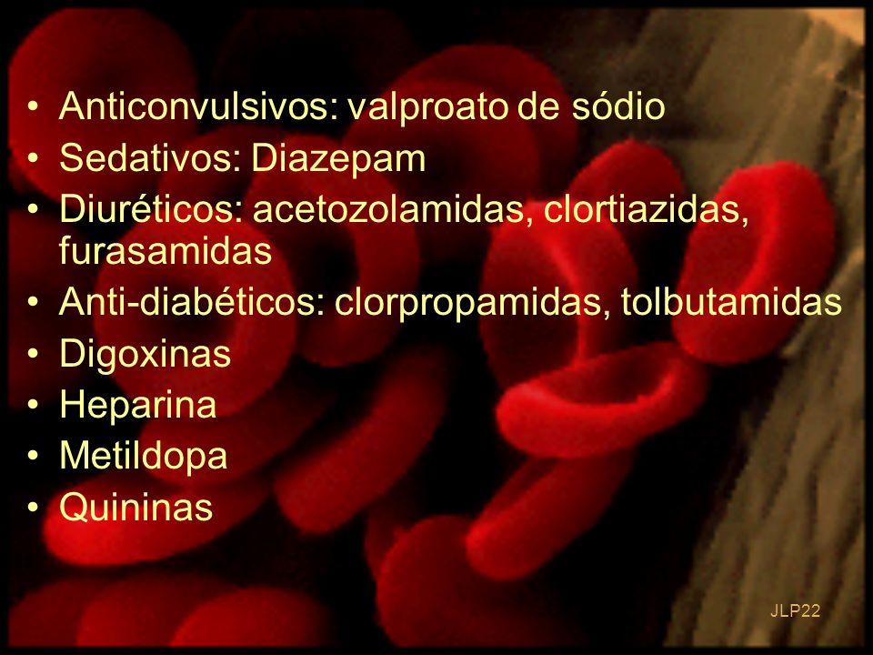 Anticonvulsivos: valproato de sódio Sedativos: Diazepam