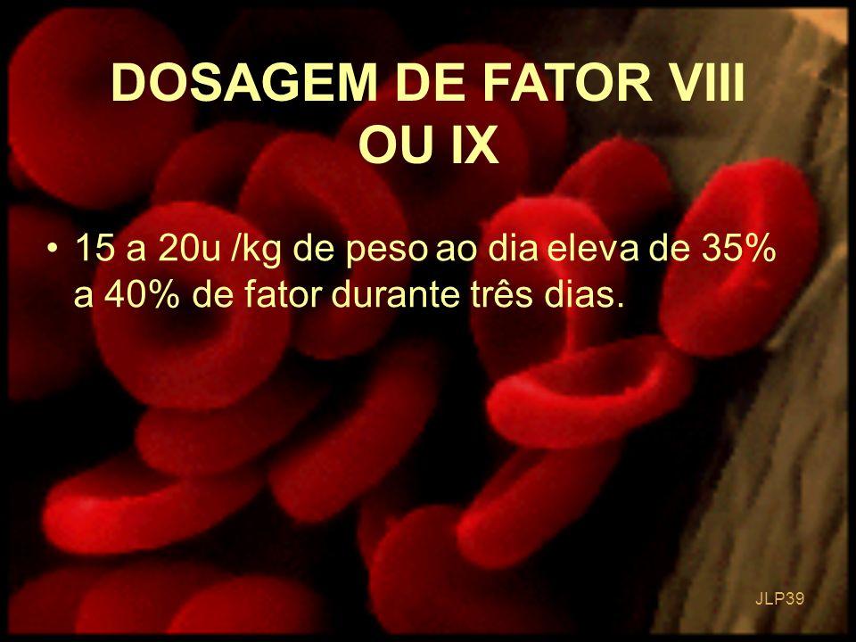 DOSAGEM DE FATOR VIII OU IX