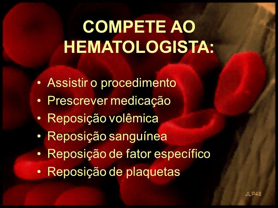 COMPETE AO HEMATOLOGISTA: