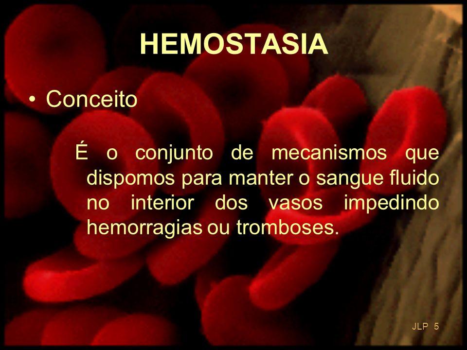 HEMOSTASIA Conceito. É o conjunto de mecanismos que dispomos para manter o sangue fluido no interior dos vasos impedindo hemorragias ou tromboses.