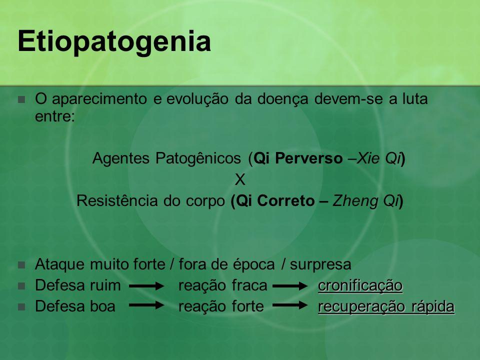 Etiopatogenia O aparecimento e evolução da doença devem-se a luta entre: Agentes Patogênicos (Qi Perverso –Xie Qi)