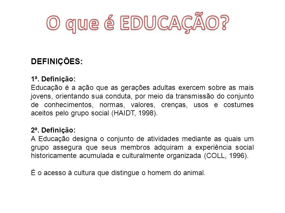 O que é EDUCAÇÃO DEFINIÇÕES: 1ª. Definição: