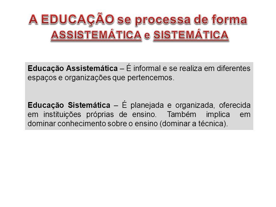 A EDUCAÇÃO se processa de forma ASSISTEMÁTICA e SISTEMÁTICA
