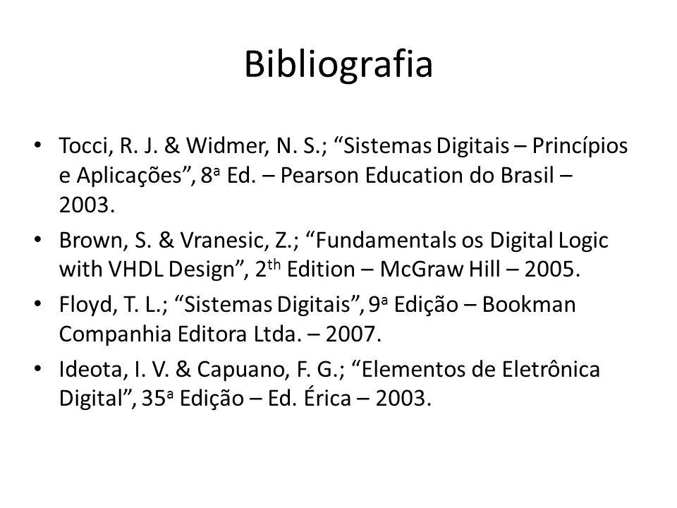 Bibliografia Tocci, R. J. & Widmer, N. S.; Sistemas Digitais – Princípios e Aplicações , 8a Ed. – Pearson Education do Brasil – 2003.
