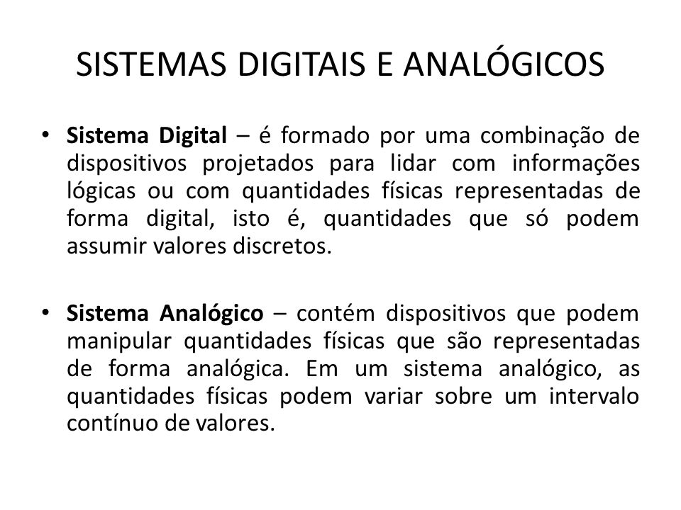 SISTEMAS DIGITAIS E ANALÓGICOS