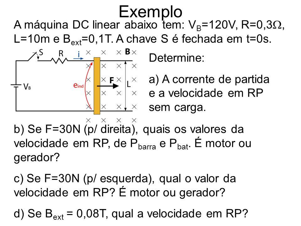 Exemplo A máquina DC linear abaixo tem: VB=120V, R=0,3, L=10m e Bext=0,1T. A chave S é fechada em t=0s.