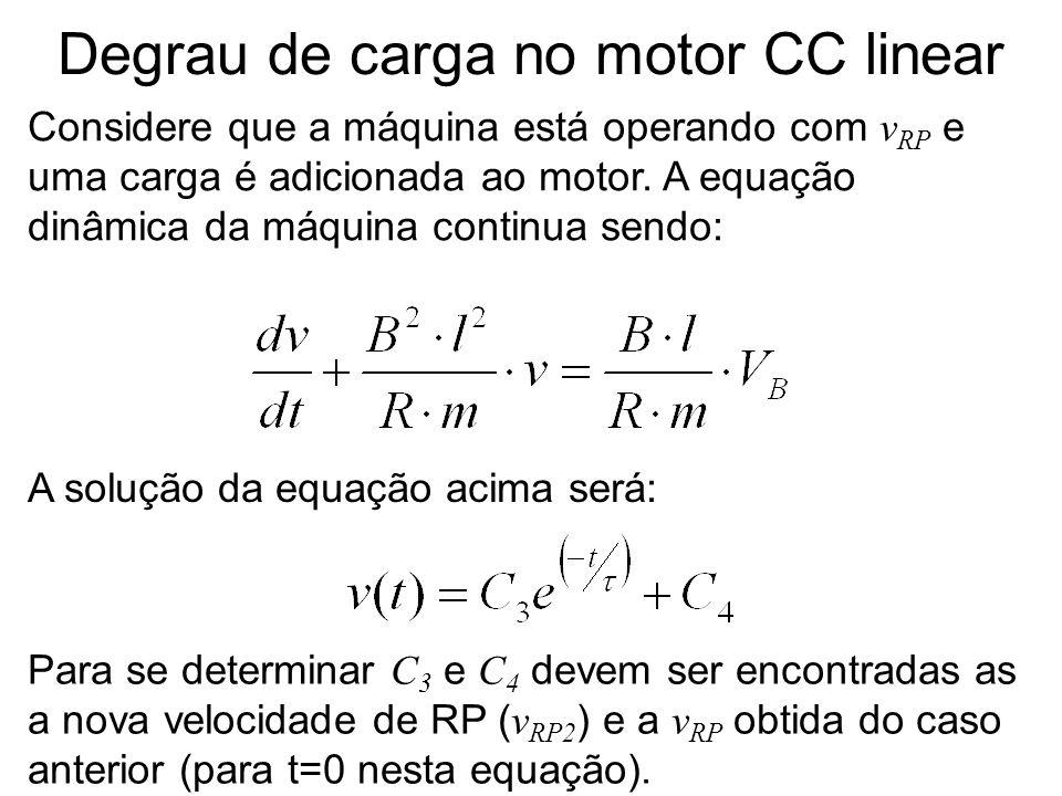 Degrau de carga no motor CC linear