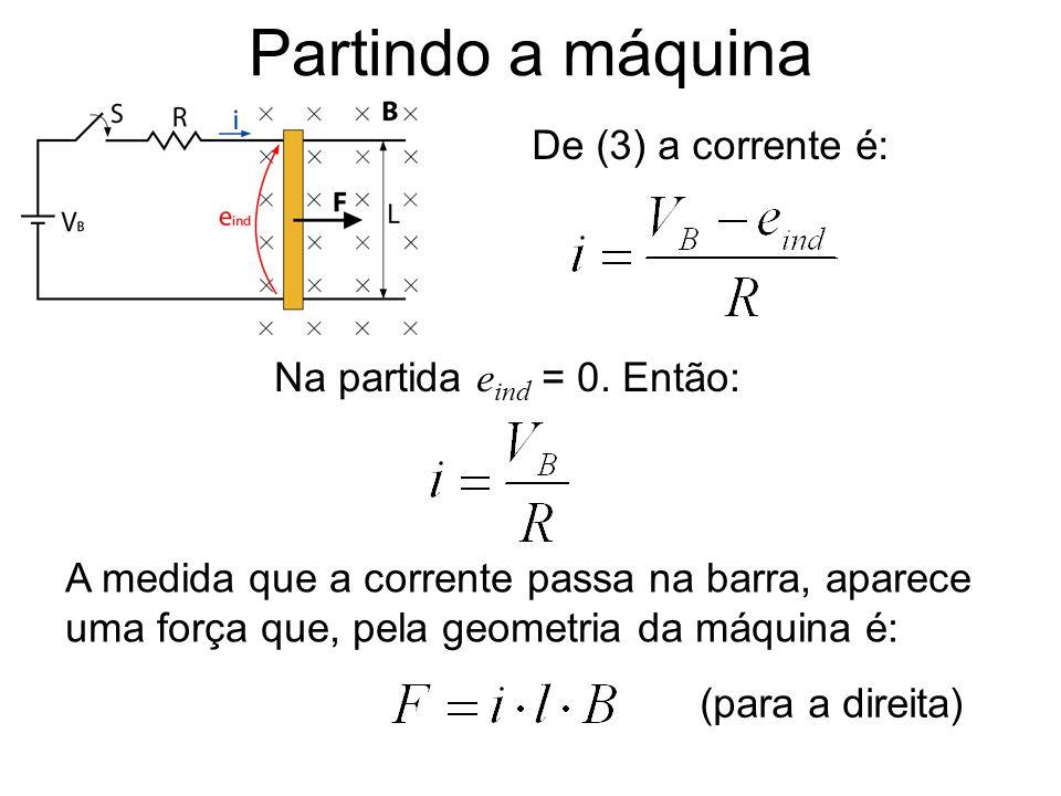 Partindo a máquina De (3) a corrente é: Na partida eind = 0. Então: