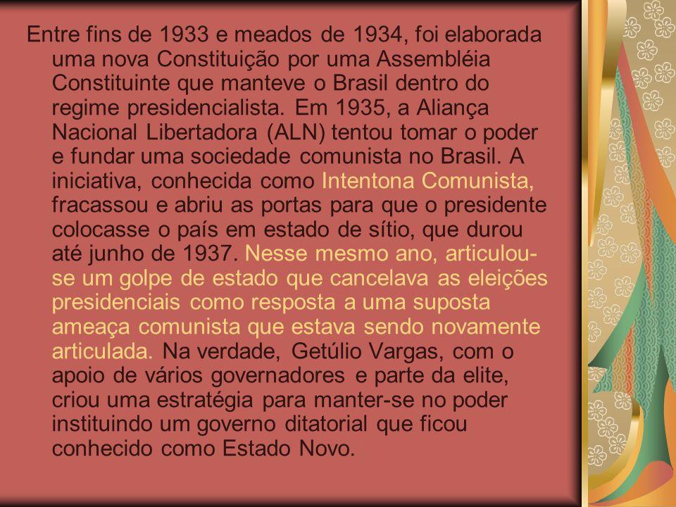 Entre fins de 1933 e meados de 1934, foi elaborada uma nova Constituição por uma Assembléia Constituinte que manteve o Brasil dentro do regime presidencialista.
