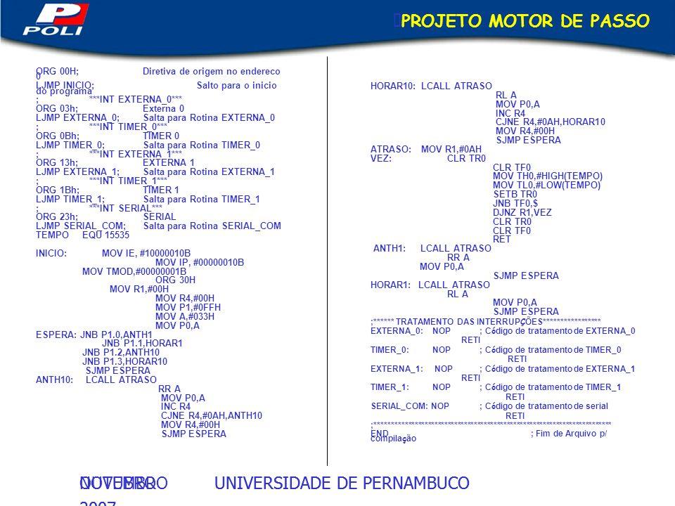 PROJETO MOTOR DE PASSO HORAR10: LCALL ATRASO