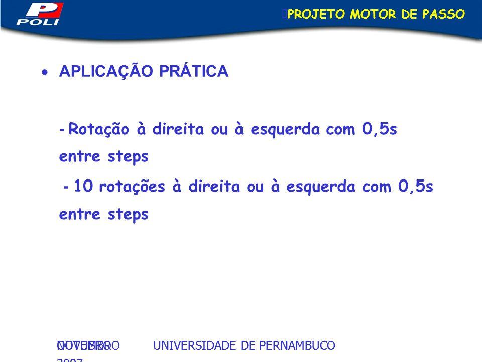 - Rotação à direita ou à esquerda com 0,5s entre steps