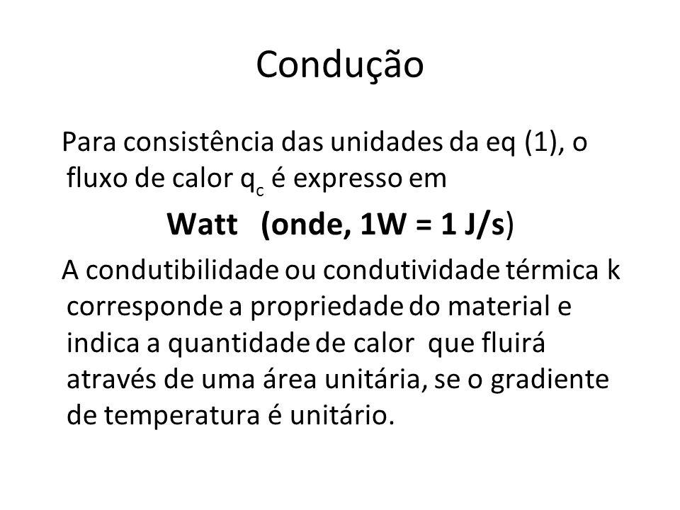 Condução Para consistência das unidades da eq (1), o fluxo de calor qc é expresso em. Watt (onde, 1W = 1 J/s)