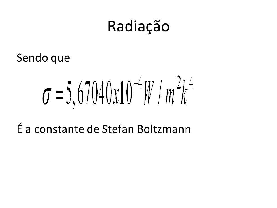 Radiação Sendo que É a constante de Stefan Boltzmann