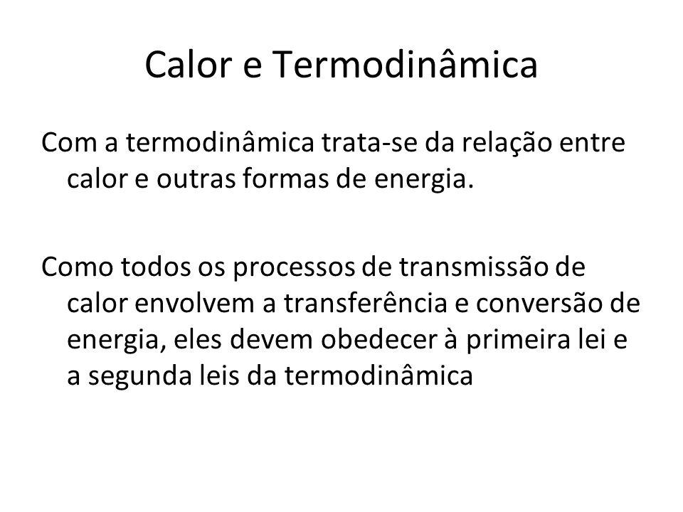 Calor e Termodinâmica Com a termodinâmica trata-se da relação entre calor e outras formas de energia.