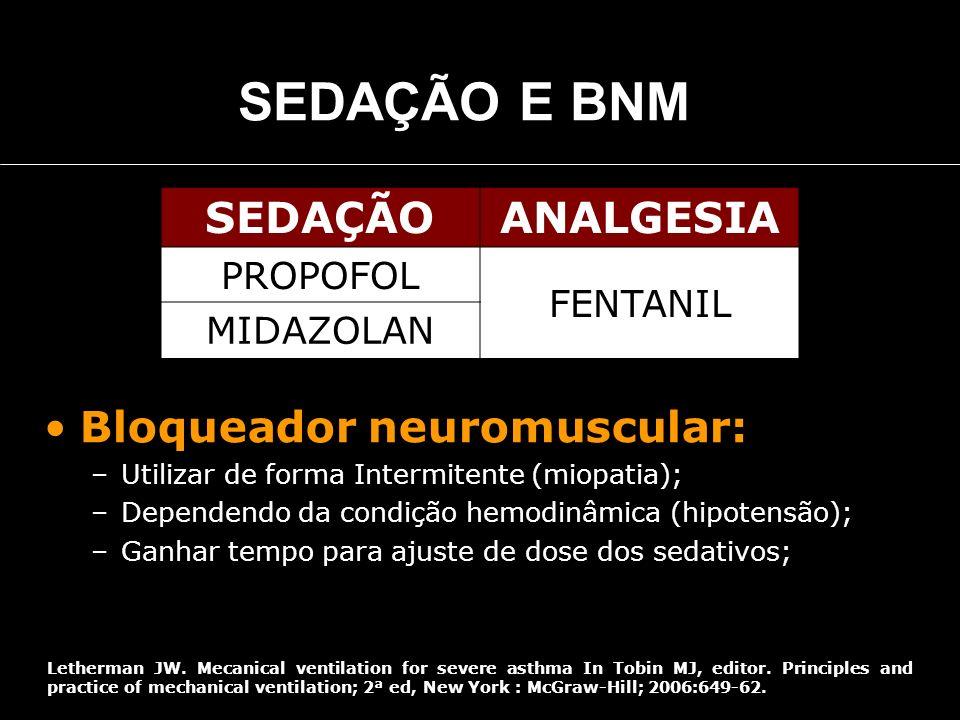 SEDAÇÃO E BNM SEDAÇÃO ANALGESIA Bloqueador neuromuscular: PROPOFOL