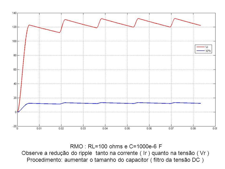 Procedimento: aumentar o tamanho do capacitor ( filtro da tensão DC )