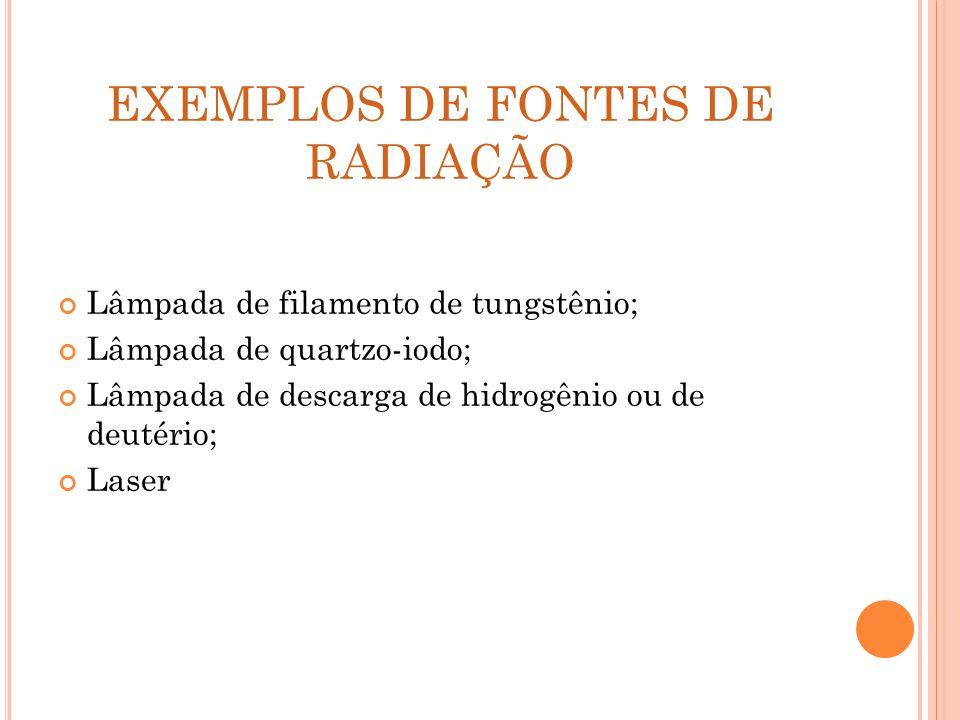 EXEMPLOS DE FONTES DE RADIAÇÃO