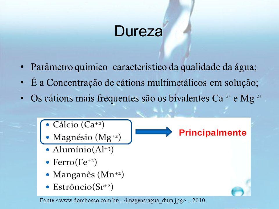 Dureza Parâmetro químico característico da qualidade da água;