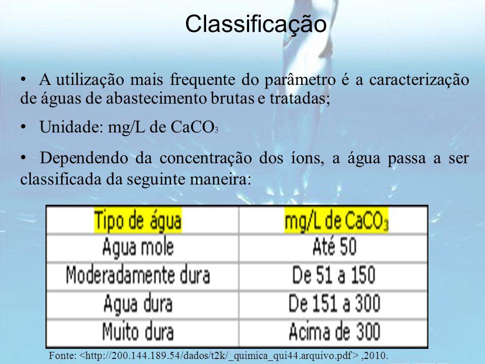 Classificação A utilização mais frequente do parâmetro é a caracterização de águas de abastecimento brutas e tratadas;