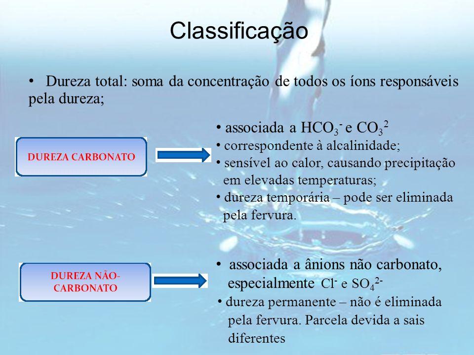 Classificação Dureza total: soma da concentração de todos os íons responsáveis pela dureza; associada a HCO3- e CO32.
