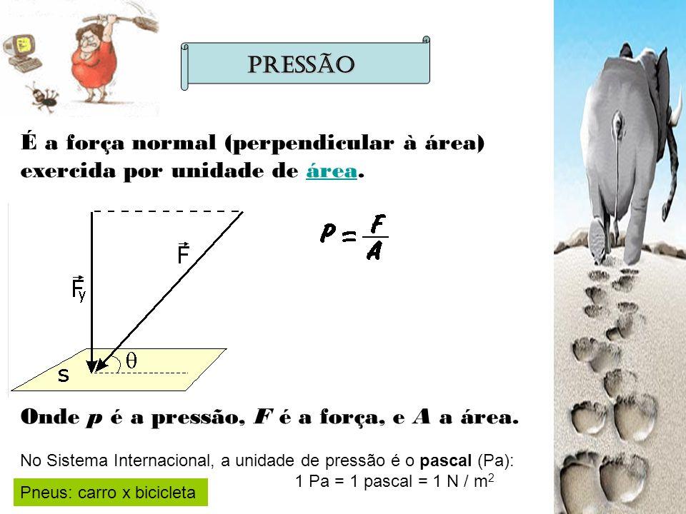 É a força normal (perpendicular à área) exercida por unidade de área.