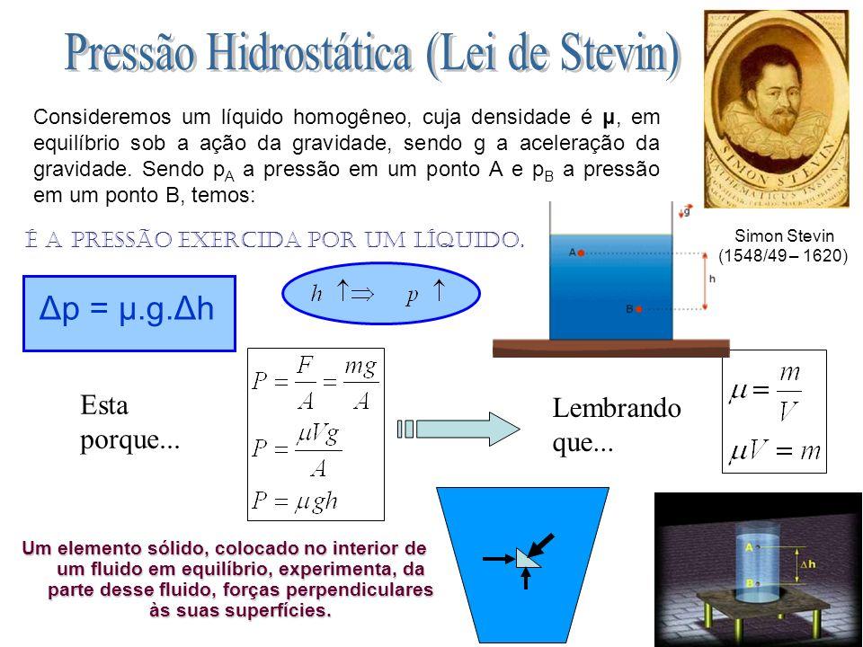 Pressão Hidrostática (Lei de Stevin)