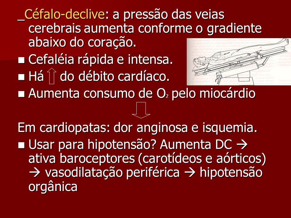 _Céfalo-declive: a pressão das veias cerebrais aumenta conforme o gradiente abaixo do coração.