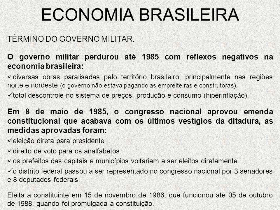 ECONOMIA BRASILEIRA TÉRMINO DO GOVERNO MILITAR.