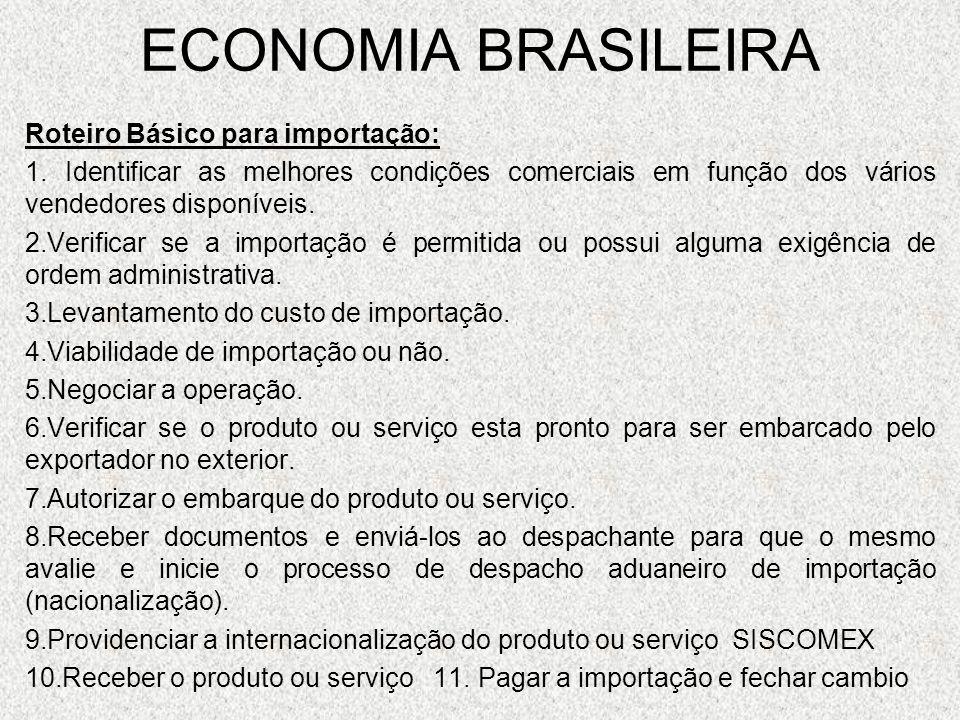 ECONOMIA BRASILEIRA Roteiro Básico para importação: