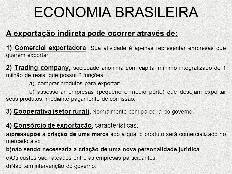 ECONOMIA BRASILEIRA A exportação indireta pode ocorrer através de: