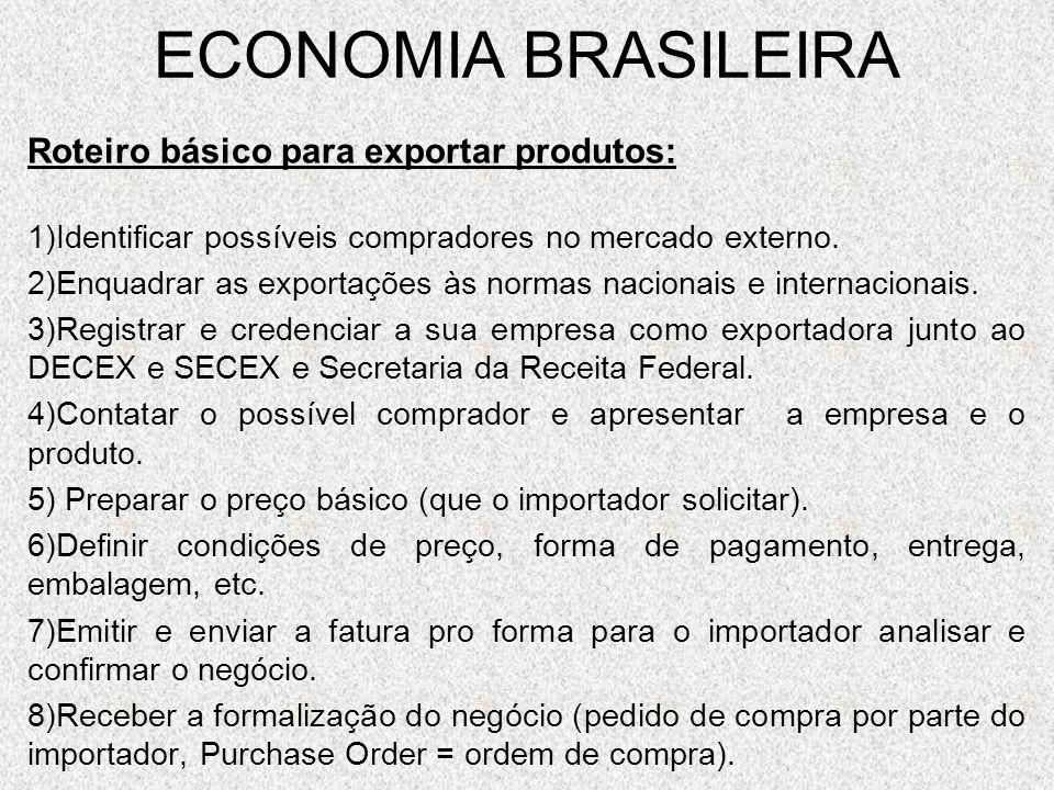 ECONOMIA BRASILEIRA Roteiro básico para exportar produtos: