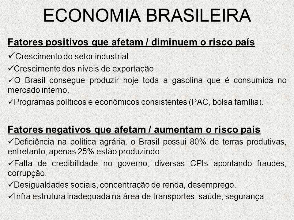 ECONOMIA BRASILEIRA Fatores positivos que afetam / diminuem o risco país. Crescimento do setor industrial.