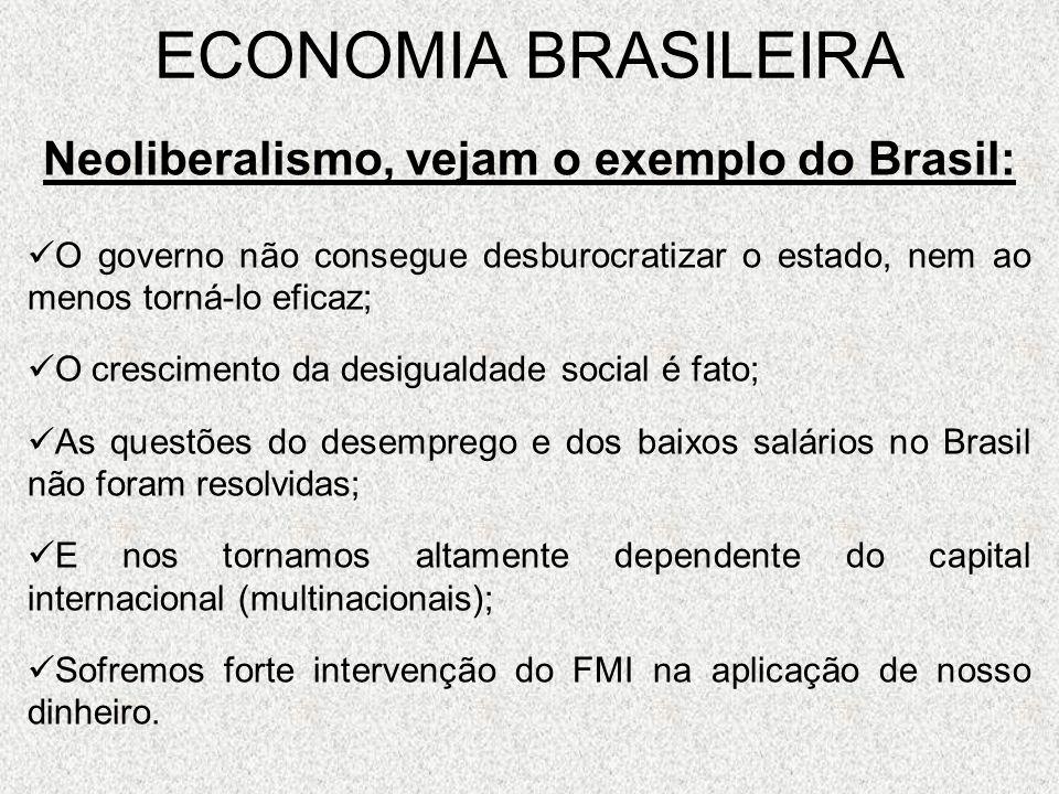 Neoliberalismo, vejam o exemplo do Brasil: