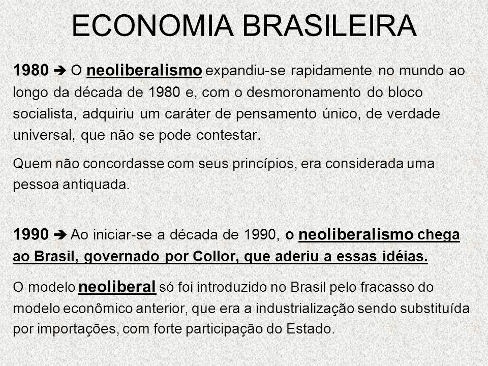 ECONOMIA BRASILEIRA1980  O neoliberalismo expandiu-se rapidamente no mundo ao. longo da década de 1980 e, com o desmoronamento do bloco.