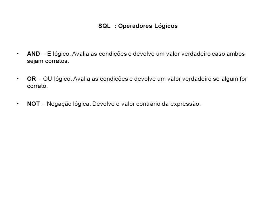SQL : Operadores Lógicos