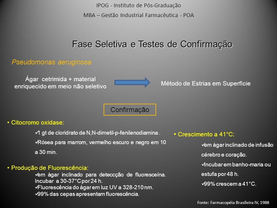 Fase Seletiva e Testes de Confirmação