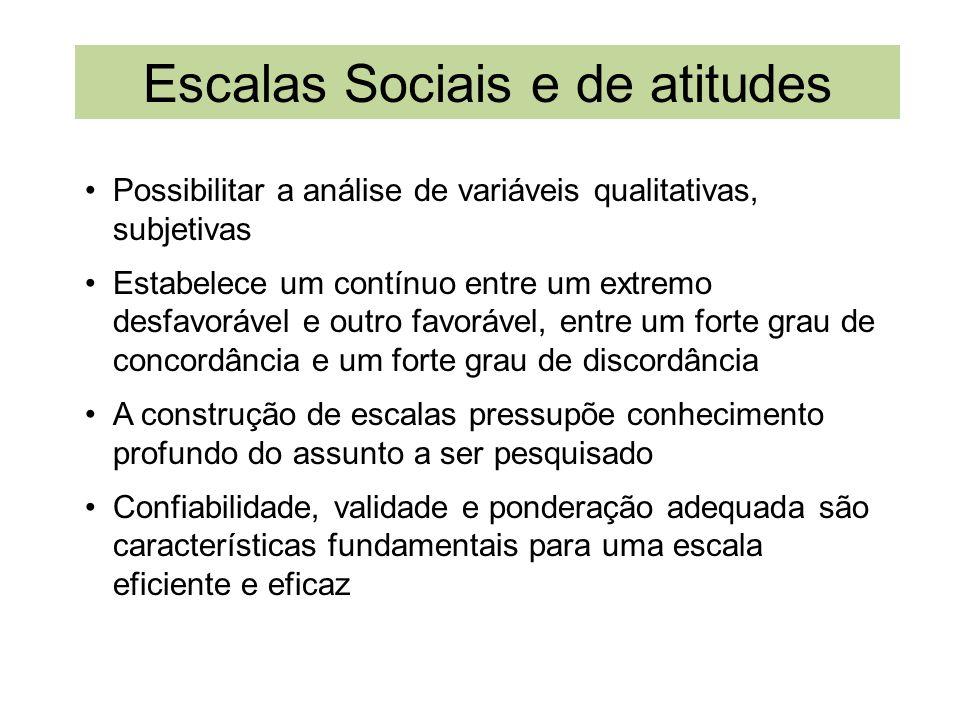 Escalas Sociais e de atitudes