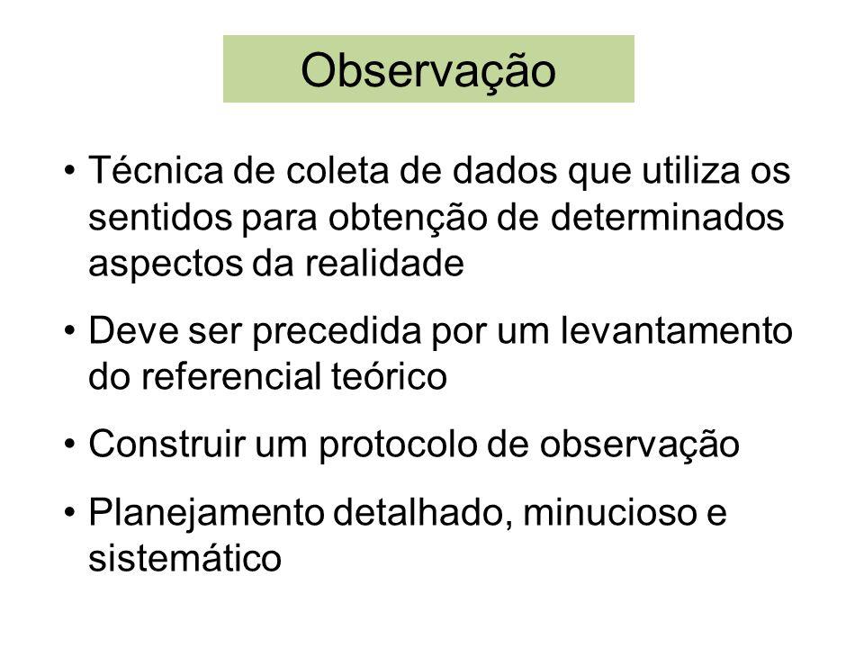 ObservaçãoTécnica de coleta de dados que utiliza os sentidos para obtenção de determinados aspectos da realidade.