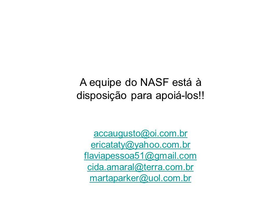 A equipe do NASF está à disposição para apoiá-los!!
