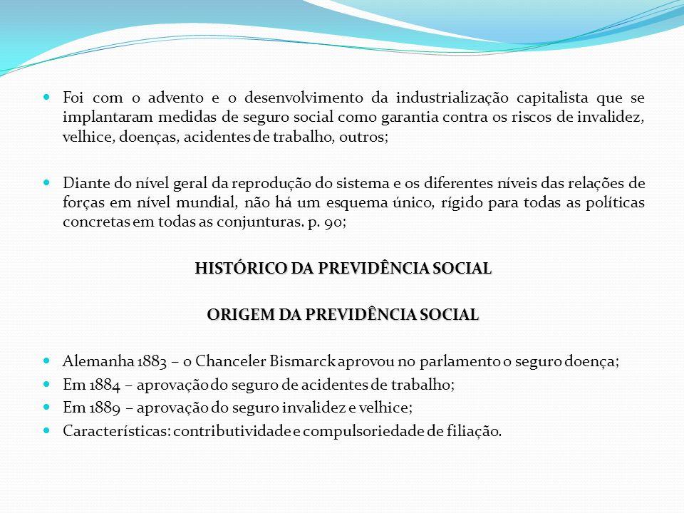 HISTÓRICO DA PREVIDÊNCIA SOCIAL ORIGEM DA PREVIDÊNCIA SOCIAL