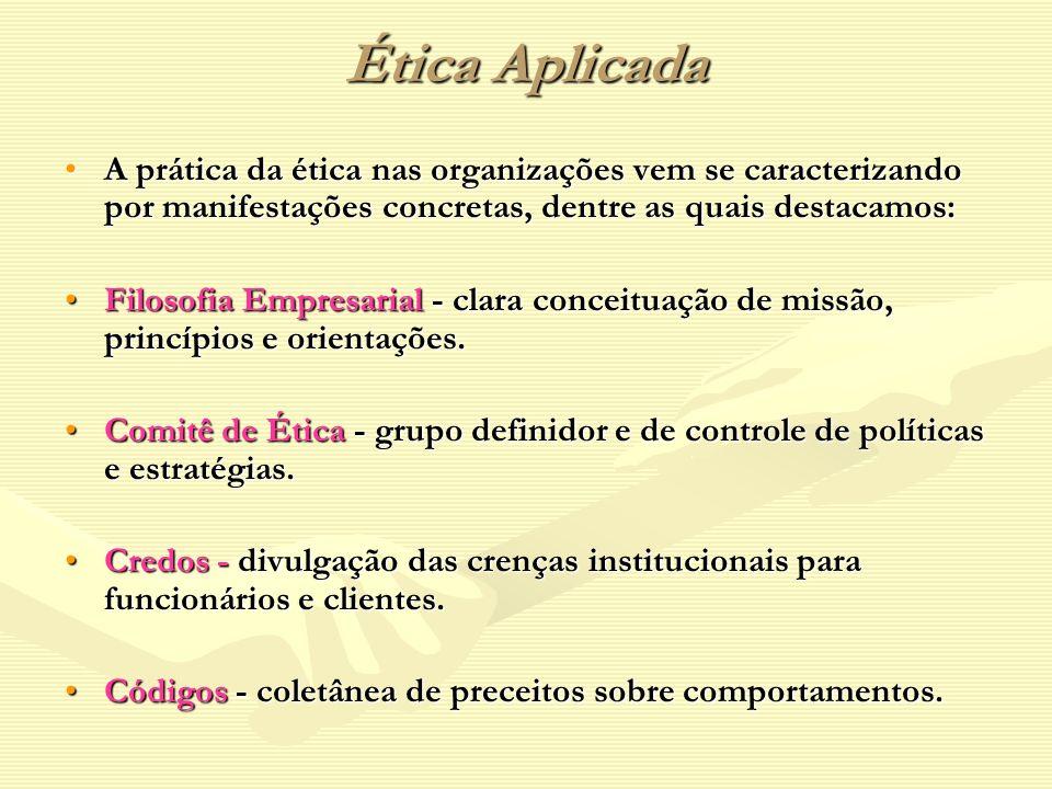 Ética AplicadaA prática da ética nas organizações vem se caracterizando por manifestações concretas, dentre as quais destacamos: