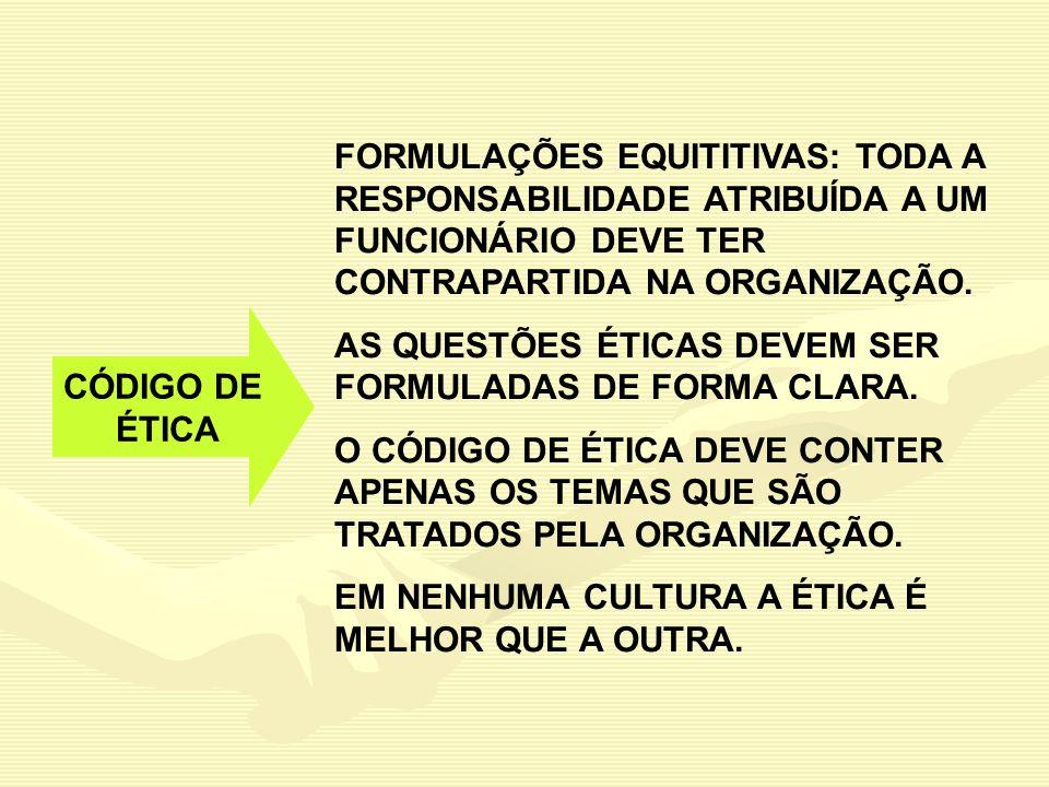 FORMULAÇÕES EQUITITIVAS: TODA A RESPONSABILIDADE ATRIBUÍDA A UM FUNCIONÁRIO DEVE TER CONTRAPARTIDA NA ORGANIZAÇÃO.