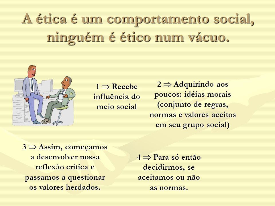 A ética é um comportamento social, ninguém é ético num vácuo.