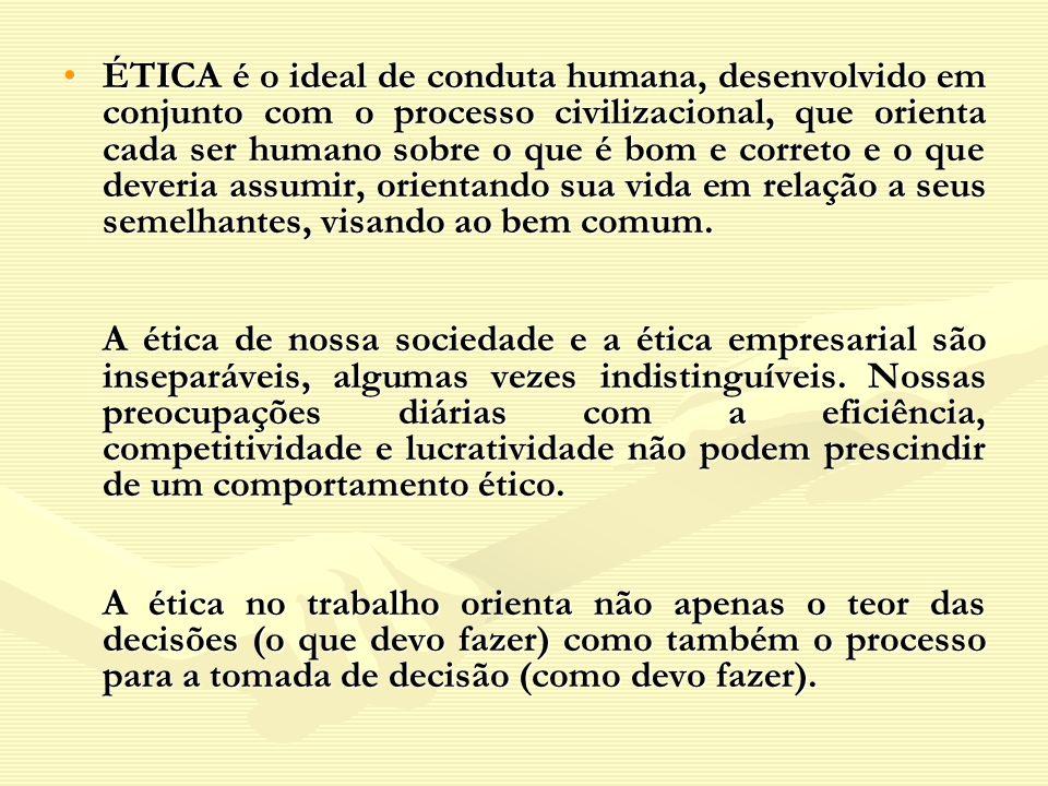 ÉTICA é o ideal de conduta humana, desenvolvido em conjunto com o processo civilizacional, que orienta cada ser humano sobre o que é bom e correto e o que deveria assumir, orientando sua vida em relação a seus semelhantes, visando ao bem comum.