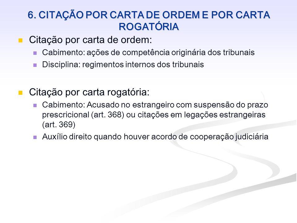6. CITAÇÃO POR CARTA DE ORDEM E POR CARTA ROGATÓRIA