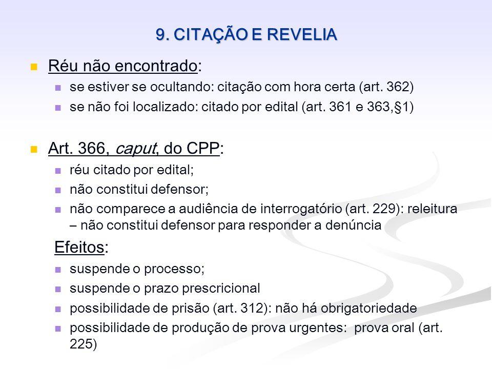 9. CITAÇÃO E REVELIA Réu não encontrado: Art. 366, caput, do CPP: