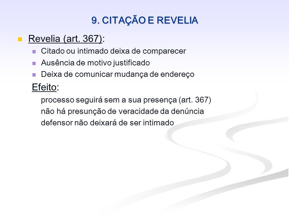 9. CITAÇÃO E REVELIA Revelia (art. 367): Efeito: