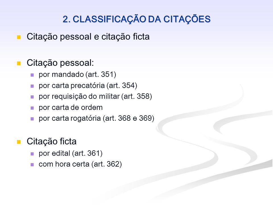 2. CLASSIFICAÇÃO DA CITAÇÕES