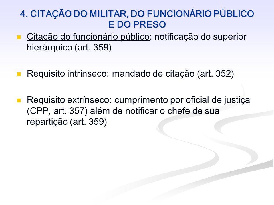 4. CITAÇÃO DO MILITAR, DO FUNCIONÁRIO PÚBLICO E DO PRESO